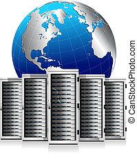 vernetzung, server, mit, erdball