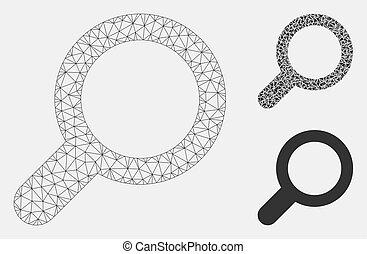 vernetzung, vektor, ansicht, dreieck, mosaik, masche, ikone, modell