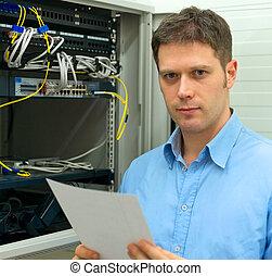 vernetzung, verwalter, mit, handbuch, in, server, room.