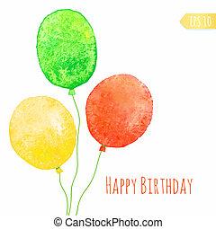 vernice acquarellatura, balloons., colorato, scheda