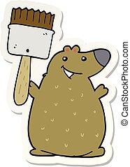 vernice, adesivo, spazzola, orso, cartone animato
