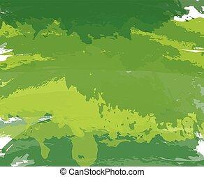 vernice, astratto, fondo., vettore, verde, artistico, spazzola