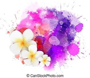 vernice, astratto, schizzo, fiori, plumeria
