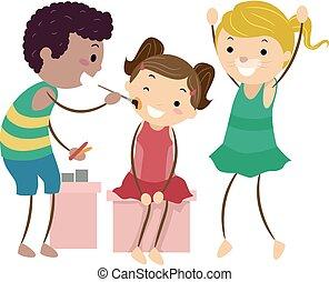 vernice, bambini, stickman, illustrazione, faccia