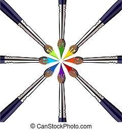 vernice, colori, spazzole, cerchio