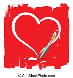 vernice, forma, spazzola, cuore