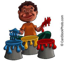 vernice, gioco, bambino