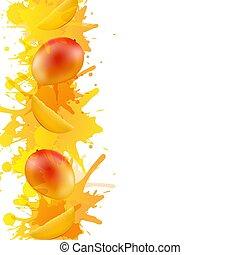 vernice, mango, fondo, arancia, bianco, bordo