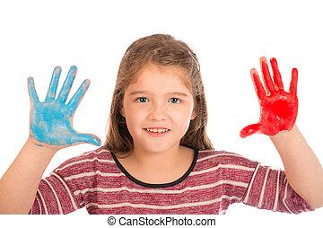 vernice, piccola ragazza, gioco