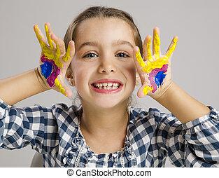 vernice, piccola ragazza, mani
