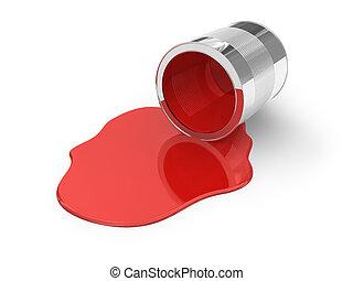 vernice, rovesciato, rosso