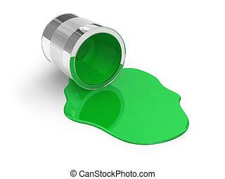 vernice, rovesciato, verde