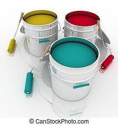 vernice, secchi, aperto, rulli
