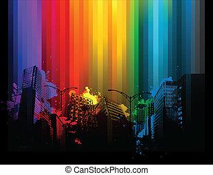 vernice, splat, fondo, città