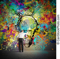 vernice, uno, creativo, idea