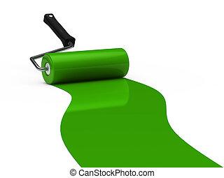 vernice, verde, rullo, 3d
