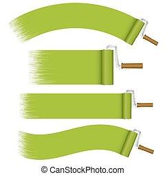 vernice, verde, set, -, rulli