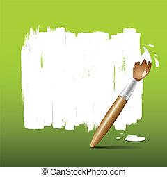vernice, verde, spazzola, fondo