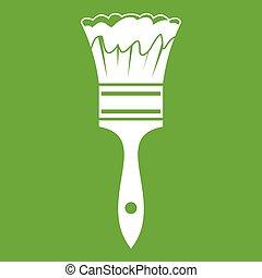 vernice, verde, spazzola, icona