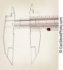 Vernier caliper. 3D illustration. Vintage style.