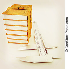 Vernier caliper and leather professional books. Best professional knowledge concept . 3D illustration. Vintage style.