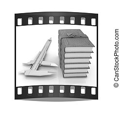 Vernier caliper and leather professional books. Best professional knowledge concept. The film strip