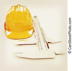 Vernier caliper and yellow hard hat 3d . 3D illustration. Vintage style.