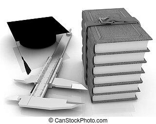 Vernier caliper, books and graduation hat. The best professional