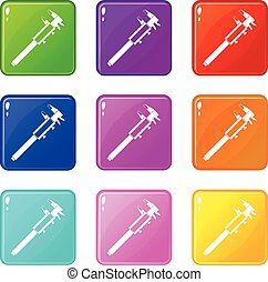 Vernier caliper icons 9 set
