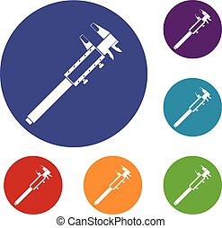 Vernier caliper icons set