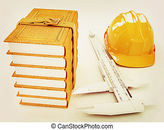 Vernier caliper, leather books and yellow hard hat . 3D illustration. Vintage style.