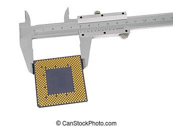 Vernier caliper measures the CPU