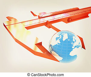 Vernier caliper measures the Earth. Global 3d concept . 3D illustration. Vintage style.