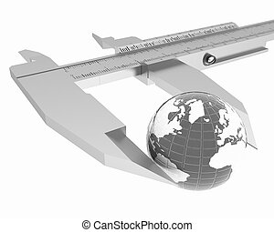 Vernier caliper measures the Earth. Global 3d concept