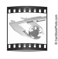 Vernier caliper measures the Earth. Global 3d concept . The film strip