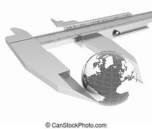 vernier, mesures, earth., global, 3d, calibre, concept