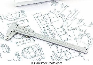 Vernier scale on blueprint background. - Vernier scale on ...