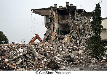vernietigde, reeks, gebouw, debris.