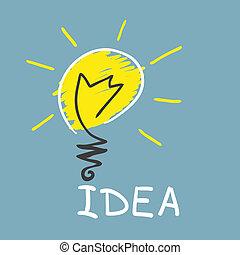 vernieuwend, lamp., concept, idee