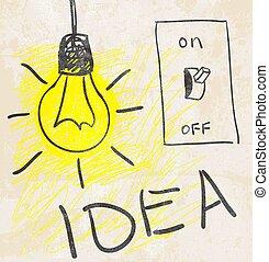 vernieuwend, lamp., idee, concept