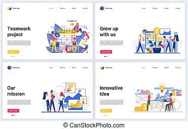 vernieuwend, team, start, makend, werkende , plan, idee, groeiende, rijkdom, innovatie, financieel, illustraties, vector, zakelijk, teamwork