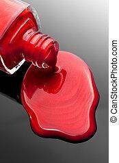 vernis à ongles, éclaboussure, bouteille rouge