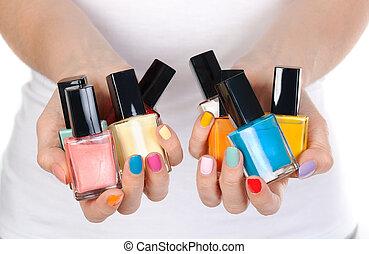 vernis à ongles, femme, bouteille, tenue