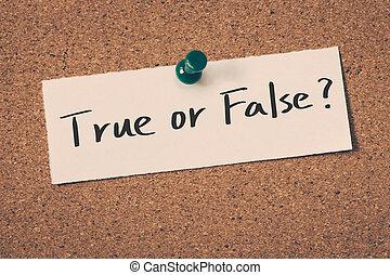 vero, falso, o