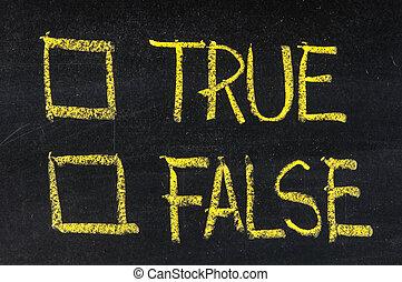 vero, scatole, falso, assegno