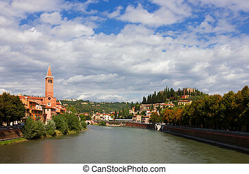 Bright colorful panoramic view of Verona on Adige River Toward Castel San Pietro and the Dominican church of Sant'Anastasia.