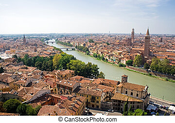 Verona and Adige River - Verona panoramic view from the high...
