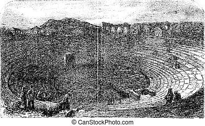 Verona Arena in 1890, in Verona, Italy. Vintage engraving.