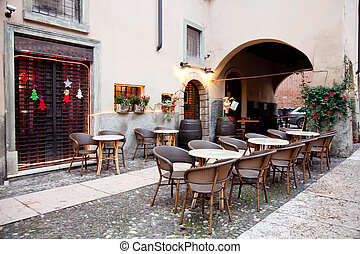 verona, gata, italien, restaurang