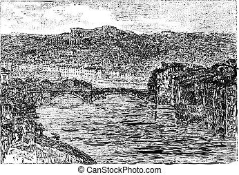 Verona, in Veneto, Italy, vintage engraving